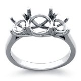 Three Stone Trellis Diamond Ring in Platinum